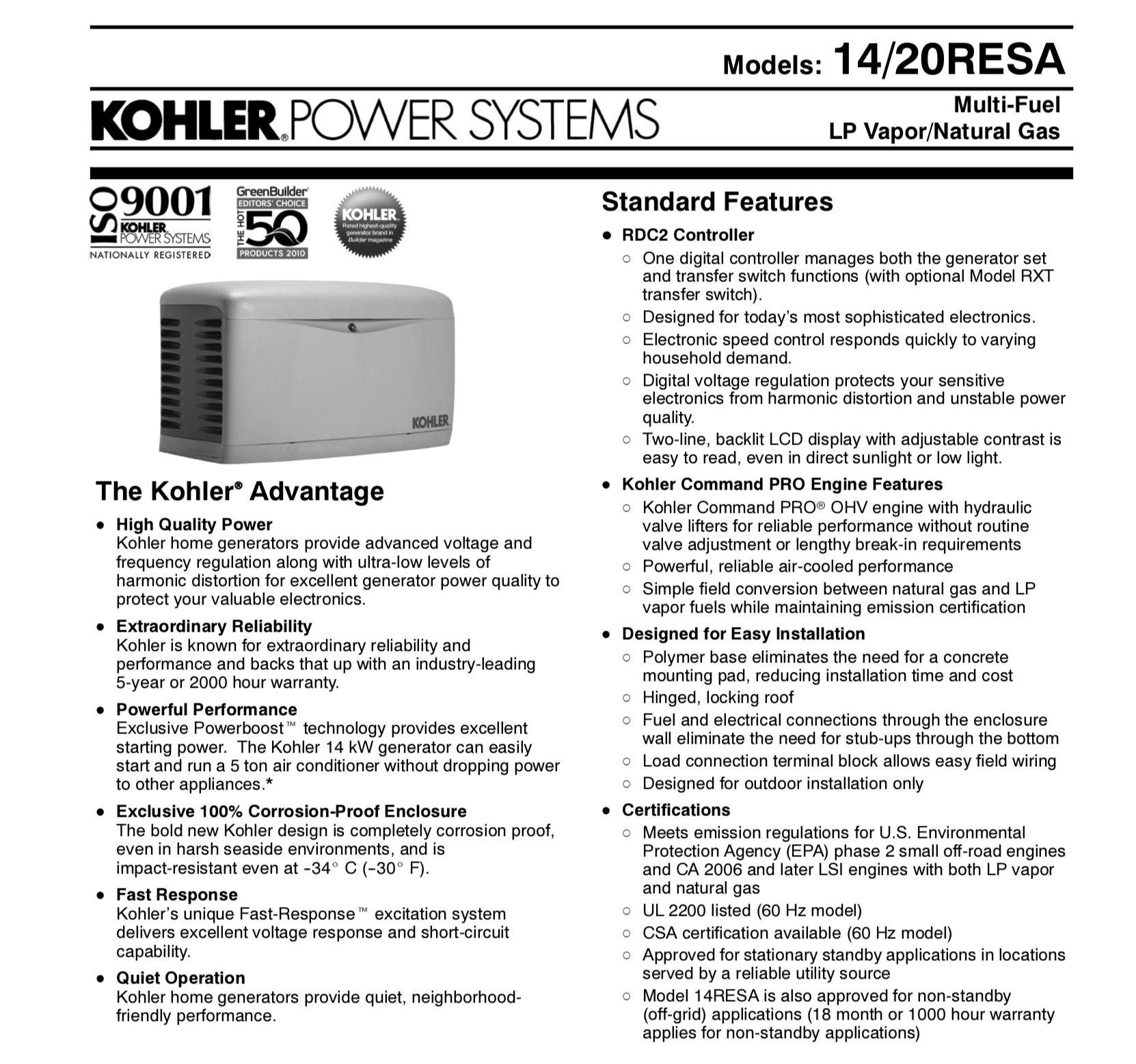 Kohler 14kw Resa Propane Ng Generator Sunnycal Solar Inc