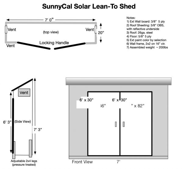 Drawing of SunnyCal Lean-to shed